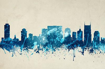 Nashville Skyline Painting - Nashville Tennessee Skyline 20 by Aged Pixel