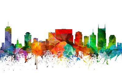 Nashville Skyline Painting - Nashville Tennessee Skyline 21 by Aged Pixel