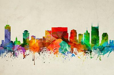 Nashville Skyline Painting - Nashville Tennessee Skyline 22 by Aged Pixel