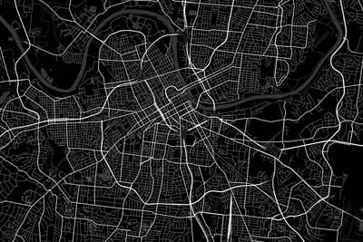 Nashville Digital Art - Nashville Tennessee Usa Dark Map by Jurq Studio