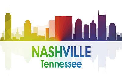 Cityscape Mixed Media - Nashville Tn by Angelina Vick