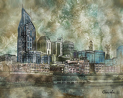 Nashville Drawing - Nashville, Tn by Carole Jacobs