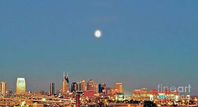 Nashville Skyline Painting - Nashville Under The Moon by Linda M Gardner