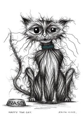 Moggy Drawing - Nasty The Cat by Keith Mills