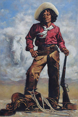 Rifle Painting - Nat Love - Aka - Deadwood Dick by Harvie Brown