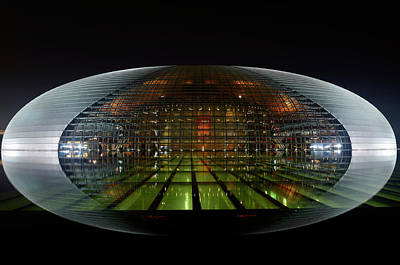 Abstract Photograph - National Centre For The Performing Arts Egg Lit At Night And Ref by Reimar Gaertner