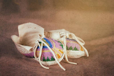 Native American Photograph - Native American Baby Shoes by Tom Mc Nemar
