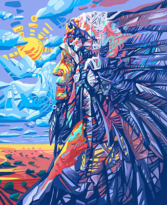 Native American Chief Print by Bekim Art
