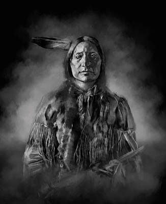 Sitting Bull Painting - Native American Chief-scabby Bull by Bekim Art