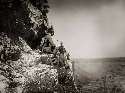 Native American Crow Men On Rock Ledge Print by The  Vault - Jennifer Rondinelli Reilly