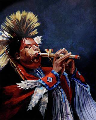Native American Flute Player Original by Gina Jane