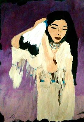 Indian Tribal Art Painting - Native American Indian Princess  by Shy Butterfly