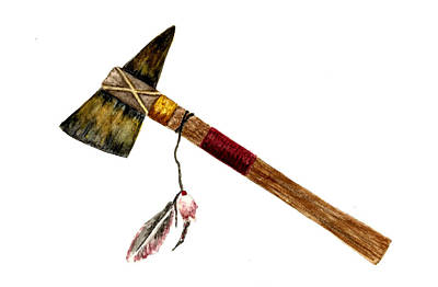 Native American Watercolor Painting - Native American Tomahawk by Michael Vigliotti