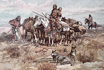 Horseback Painting - Native Americans Plains People Moving Camp by Charles Marion Russell