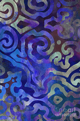 Ethnic Art Painting - Native Elements Cobalt Blue by Mindy Sommers