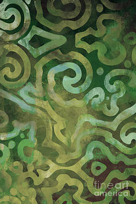 Native Elements In Green Print by Mindy Sommers