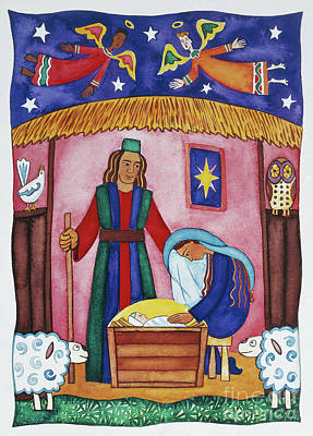 Nativity Scene Painting - Nativity With Angels by Cathy Baxter