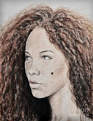 Beauty Mark Drawing - Natural Beauty With Red Hair Version II by Jim Fitzpatrick