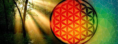 Natural Flower Of Life Print by AJ Fortuna