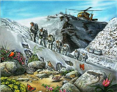 Viper Mixed Media - nature and army on Mount Hermon by Tuvia Kurz