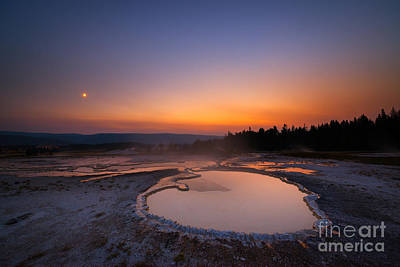 Natures Jacuzzi Yellowstone Hot Spring Sunset Print by Michael Ver Sprill