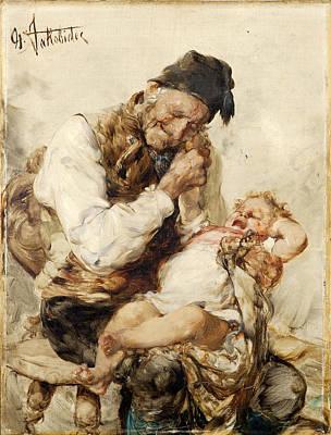 Georgio Painting - Naughty Grandson by Georgios Jakovidis