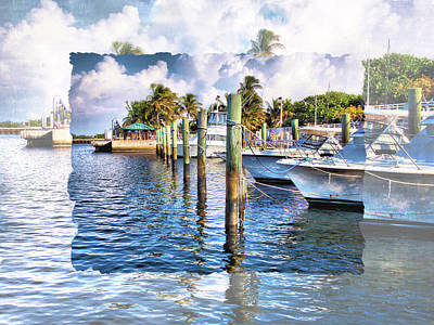 Nautical Boats At The Dock Print by Debra and Dave Vanderlaan
