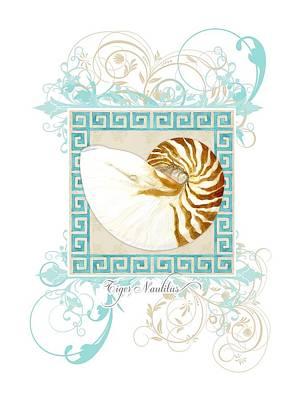 Nautilus Shell Greek Key W Swirl Flourishes Print by Audrey Jeanne Roberts