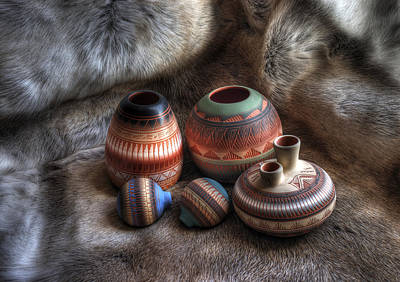 Native American Photograph - Navajo Pottery by Merja Waters