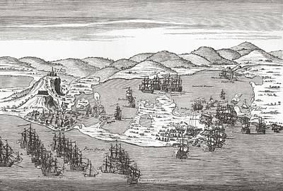 Action Drawing - Naval Action At Cartagena De Indias by Vintage Design Pics