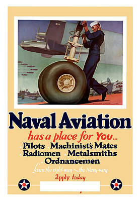War Bonds Painting - Naval Aviation Has A Place For You by War Is Hell Store
