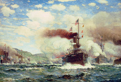 Us Flag Painting - Naval Battle Explosion by James Gale Tyler