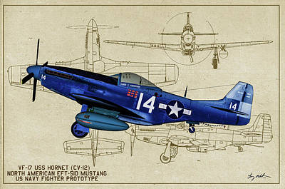Photograph - Naval Mustang Prototype - Profile Art by Tommy Anderson