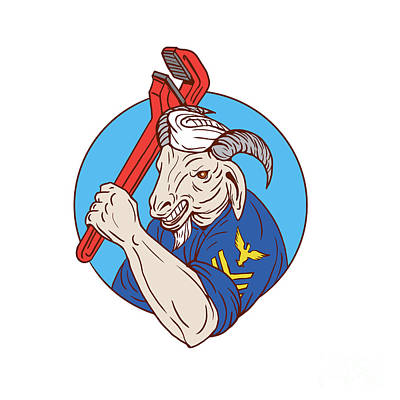 Goat Digital Art - Navy Goat Holding Pipe Wrench Circle Retro by Aloysius Patrimonio