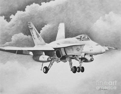 Iraq Drawing - Navy Hornet by Stephen Roberson