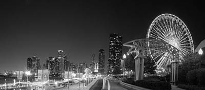 Ferris Wheel Night Photograph - Navy Pier In Black And White by Twenty Two North Photography