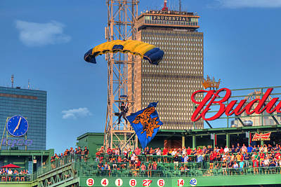 Boston Red Sox Photograph - Navy Seals Over Fenway Park - Boston by Joann Vitali