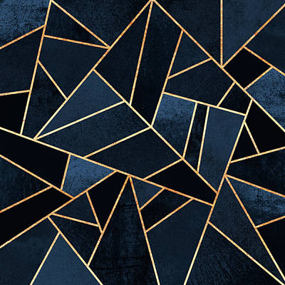 Geometric Digital Art - Navy Stone by Elisabeth Fredriksson