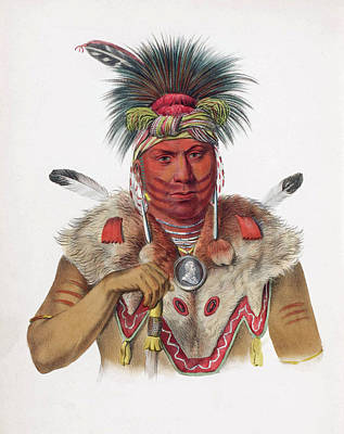 Drawing - Ne-sou-a-quoit A Fox Chief by Unknown