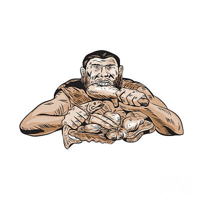 Woodcut Digital Art - Neanderthal Man Eating Paleo Diet Etching by Aloysius Patrimonio