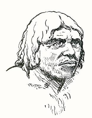 Genus Drawing - Neanderthal Or Neandertal Man. After by Vintage Design Pics