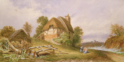 Barn Landscape Painting - Near Christchurch by Miss Lorimer