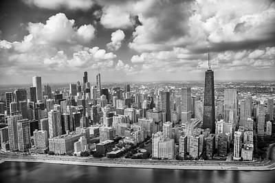 Near North Side And Gold Coast Black And White Print by Adam Romanowicz