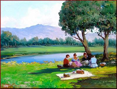 A Summer Evening Landscape Painting - Near The Lake by Salvatore Iannicelli