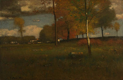 George The Painter Painting - Near The Village, October by George Inness