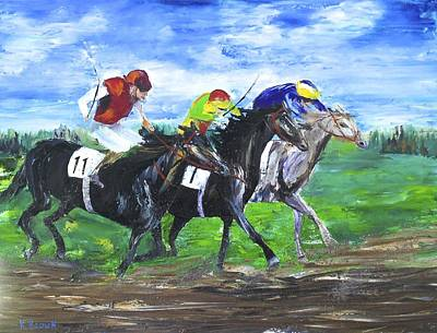 Belmont Stakes Painting - Neck And Neck by Kevin  Brown