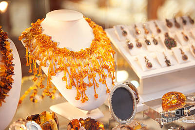 Necklace Of Amber Beads In Shop Print by Arletta Cwalina