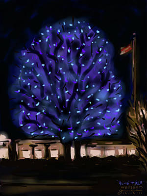 Needham's Blue Tree Print by Jean Pacheco Ravinski