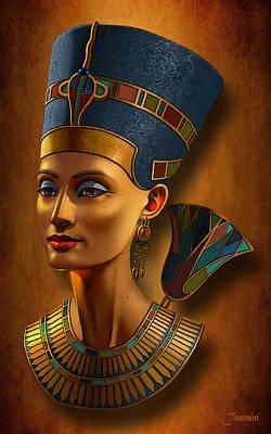 African-american Digital Art - Nefertiti Egyptian Queen On Papyrus by Jovemini ART
