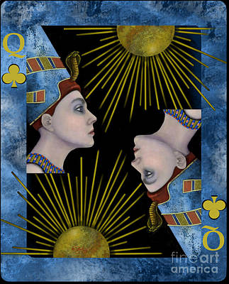 Fantasy Painting - Nefertiti Queen Of Clubs by Carol Jacobs